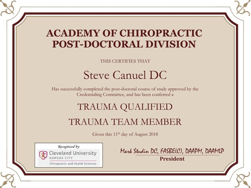 Trauma Certified Certificate Stephen Canuel